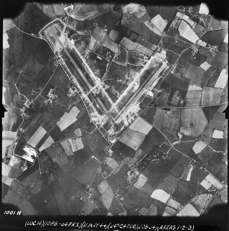 Aerial photograph of Ashford airfield. Photograph taken by the 34th Photographic Reconnaissance Squadron of the 10th Photographic Reconnaissance Group on 11 May 1944, sortie number US/34GR/LOC14. English Heritage (USAAF Photography).