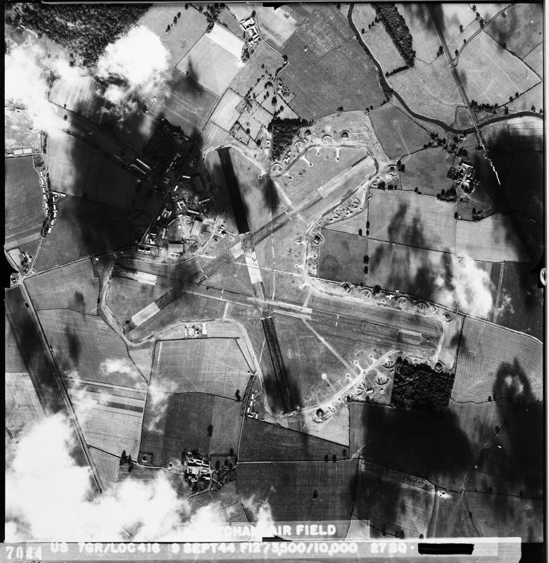 Aerial photograph of Atcham airfield, looking north west, the fuel store is in the upper centre of the image, 9 September 1944. Photograph taken by 7th Photographic Reconnaissance Group, sortie number US/7GR/LOC416. English Heritage (USAAF Photography).
