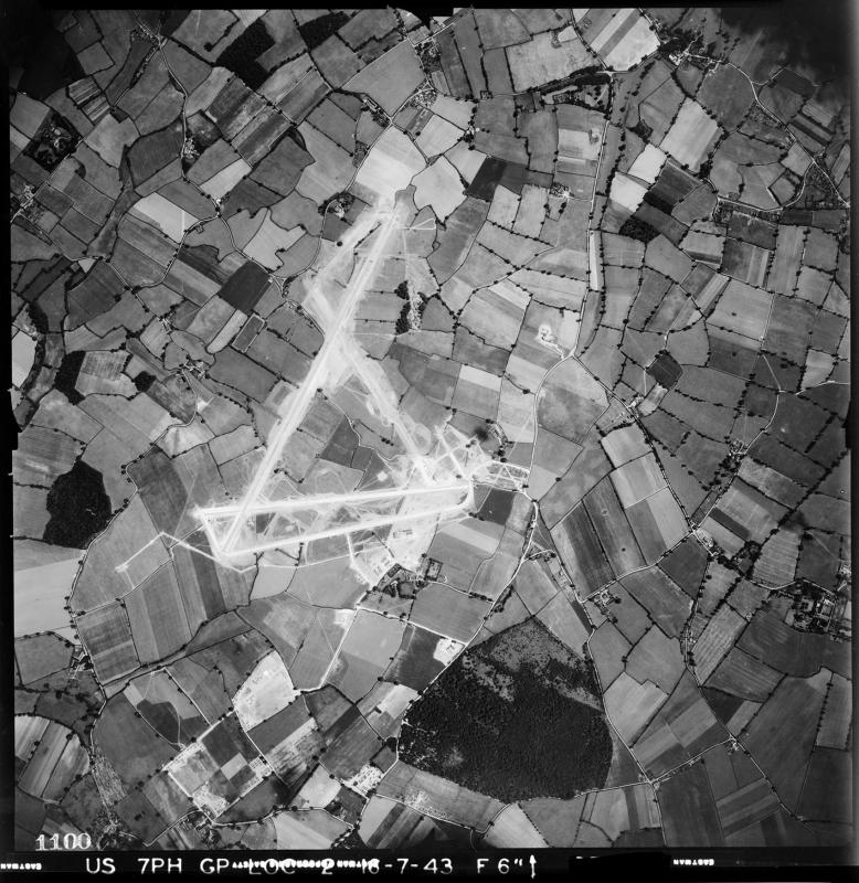 Aerial photograph of Birch airfield, looking north east, 16 July 1943. Photograph taken by 7th Photographic Reconnaissance Group, sortie number US/7PH/GP/LOC2. English Heritage (USAAF Photography).