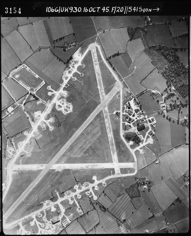 Aerial photograph of Bungay (Flixton) airfield, looking south, the technical site- with T2 hangar- and control tower are to the right, where the main airfield gate is also situated, 16 October 1945. Photograph taken by No. 541 Squadron, sortie number RAF/106G/UK/930. English Heritage (RAF Photography).