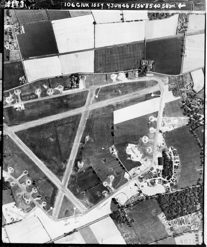 Aerial photography Bury St Edmunds (Rougham) airfield, looking north, the technical site and T2 hangar are to the right, 7 June 1946. Photograph taken by No. 540 Squadron, sortie number RAF/106G/UK/1557. English Heritage (RAF Photography).