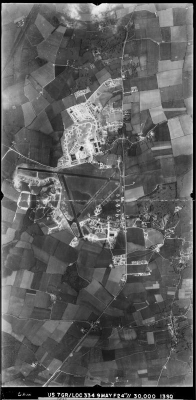Aerial photograph of Alconbury airfield, looking east. The technical site is at the top, the bomb dump is on the left, 9 May 1944. Photograph taken by 13th Photographic Squadron, 7th Photographic Reconnaissance Group USAAF, sortie number US/7GR/LOC334. English Heritage (USAAF Photography).