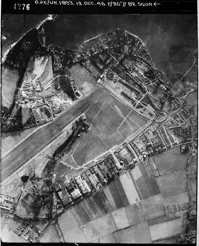 Aerial photograph of Christchurch airfield, looking south, the pre-war airfield is in the centre of the image, 12 December 1946. Photograph taken by No. 82 Squadron, sortie number RAF/CPE/UK/1893. English Heritage (RAF Photography).