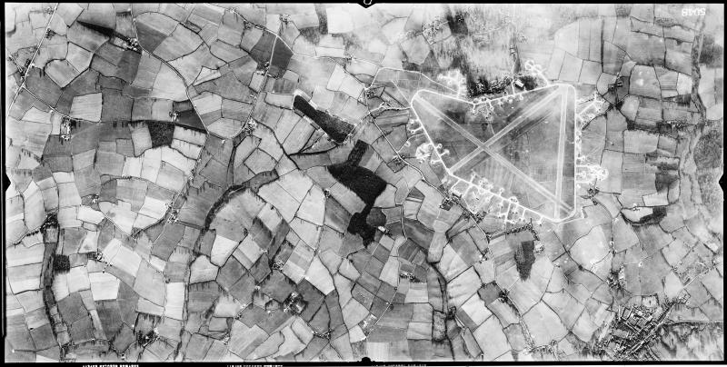 Aerial photograph of Earls Colne airfield, looking south west, Earls Colne village is bottom right, 29 February 1944. Photograph taken by 7th Photographic Reconnaissance Group, sortie number US/7PH/GP/LOC186. English Heritage (USAAF Photography).