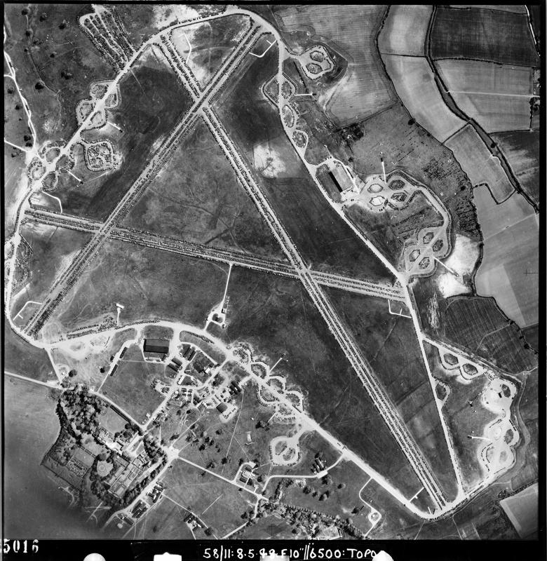 Aerial photograph of Great Dunmow airfield looking south, Easton Lodge is bottom left, 8 May 1948. Photograph taken by No. 58 Squadron, sortie number RAF/58/11. English Heritage (RAF Photography).