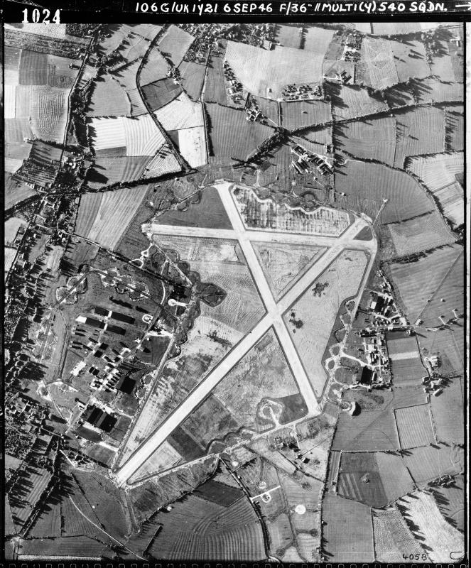 Aerial photograph of Grove airfield looking south, the technical site with T2 hangars is right, 6 September 1946. Photograph taken by No. 504 Squadron, sortie number RAF/106G/UK/1721. English Heritage (RAF Photography).