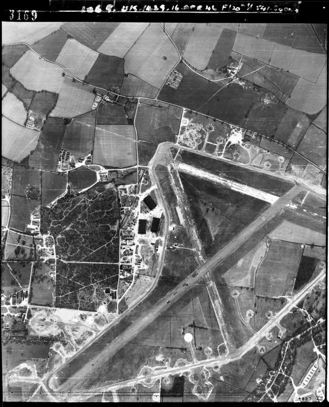 Aerial photograph of Hethel airfield, looking south, the technical site with three T2 hangars is left, 16 April 1946. Photograph by No. 541 Squadron, sortie number RAF/106G/UK/1429. English Heritage (RAF Photography).