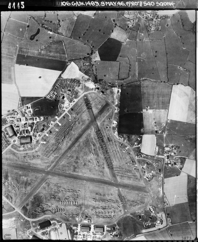 Aerial photograph of High Ercall airfield, looking north, the airfield code is at the bottom, 9 May 1946. Photograph taken by No. 540 Squadron, sortie number RAF/106G/UK/1483. English Heritage (RAF Photography).