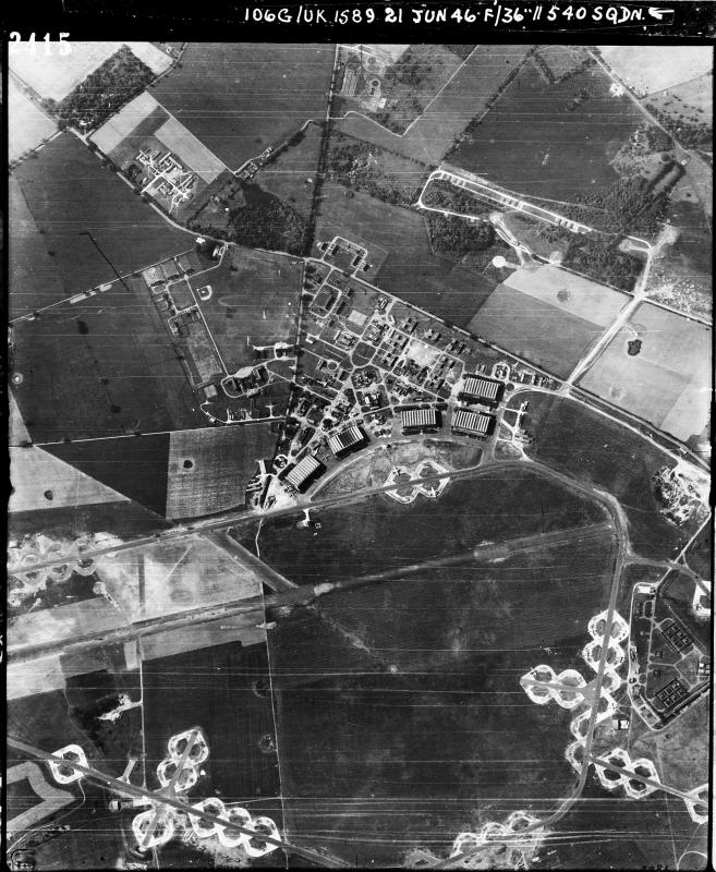 Aerial photography of Honington airfield looking south, the technical site with four C-type hangars and bomb dump are at the top, 21 June 1946. Photograph taken by No. 540 Squadron, sortie number RAF/106G/UK/1589. English Heritage (RAF Photography).