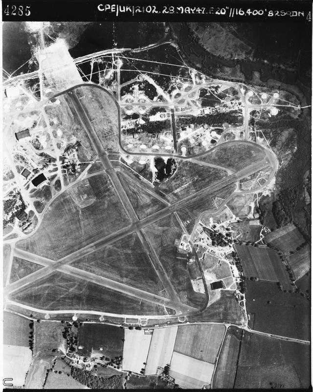 Aerial photograph of Hurn airfield looking north, the technical site is to the left, 28 May 1947. Photograph by No. 82 Squadron, sortie number RAF/CPE/UK/2102. English Heritage (RAF Photography).