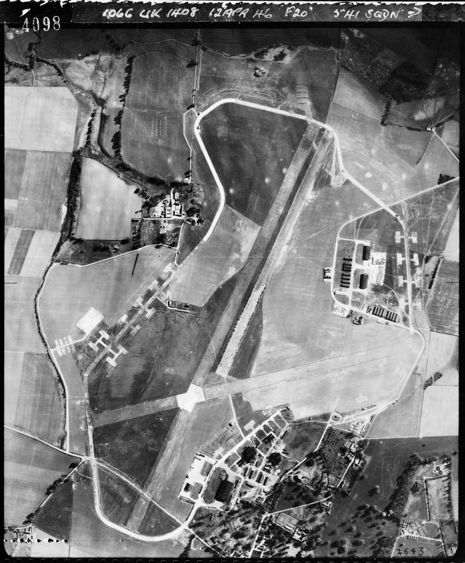 Aerial photograph of Kingston Bagpuize airfield looking south, the technical site is bottom right, 12 April 1946. Photograph taken by No. 541 Squadron, sortie number RAF/106G/UK/1408. English Heritage (RAF Photography).