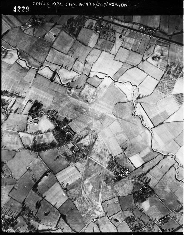 Aerial photograph of Lashenden (Headcorn) airfield looking north, the airfield had been returned to farmland, 16 January 1947. Photograph taken by No.82 Squadron, sortie number RAF/CPE/UK/1923. English Heritage (RAF Photography).