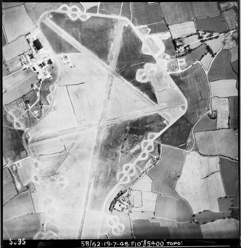 Aerial photograph of Matching airfield looking south, the technical site is on the left, 19 July 1948. Photograph taken by No. 58 Squadron, sortie number RAF/58/62.English Heritage (RAF Photography).
