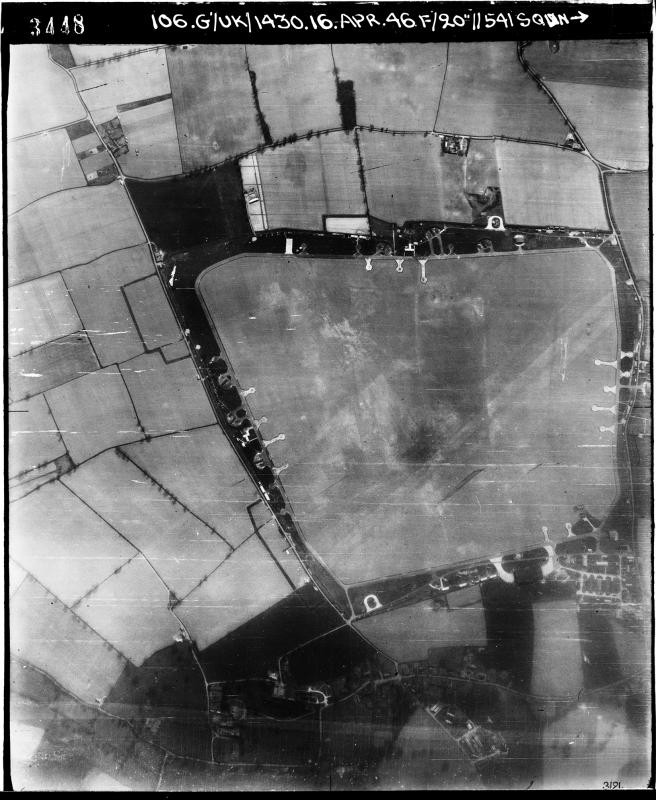 Aerial photograph of Matlaske airfield looking south, a T2 hangar is at the bottom, 16 April 1946. Photograph taken by No. 541 Squadron, sortie number RAF/106G/UK/1430. English Heritage (RAF Photography).