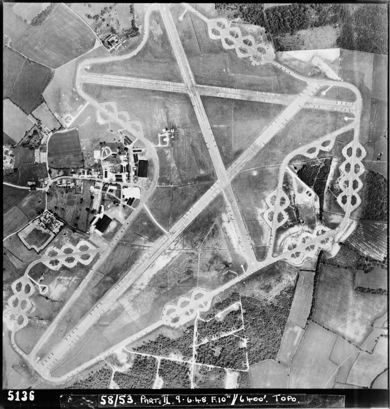 Aerial photograph of Nuthampstead Airfield looking north, the technical and recreation sites are on the left, the ammunition dump and firing butts are at the bottom, 9 June 1948. Photograph taken by No. 58 Squadron, sortie number RAF/58/53. English Heritage (RAF Photography).