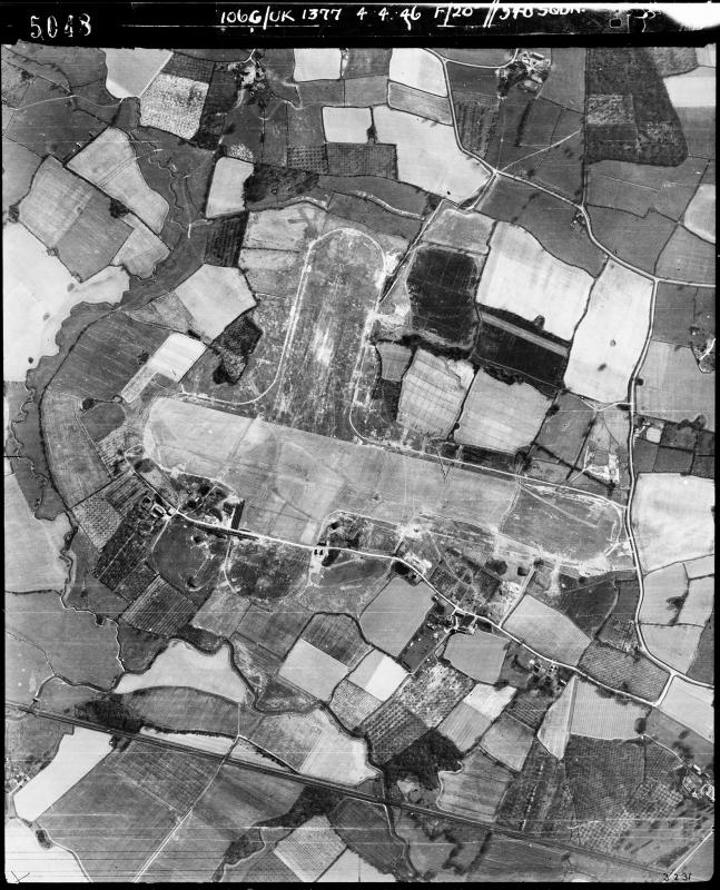 Aerial photograph of Staplehurst airfield looking south, the technical site is along the bottom of the main runway, 4 April 1946. Photograph taken by No. 540 Squadron, sortie number RAF/106G/UK/1377. English Heritage (RAF Photography).
