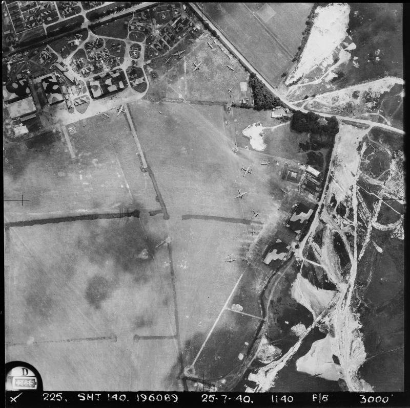 Aerial photograph of Warmwell airfield looking east, the technical site is to the left, two Belman hangars are on the right, 25 July 1940. Photograph taken on sortie number RAF/225D/UK848. English Heritage (RAF Photography).