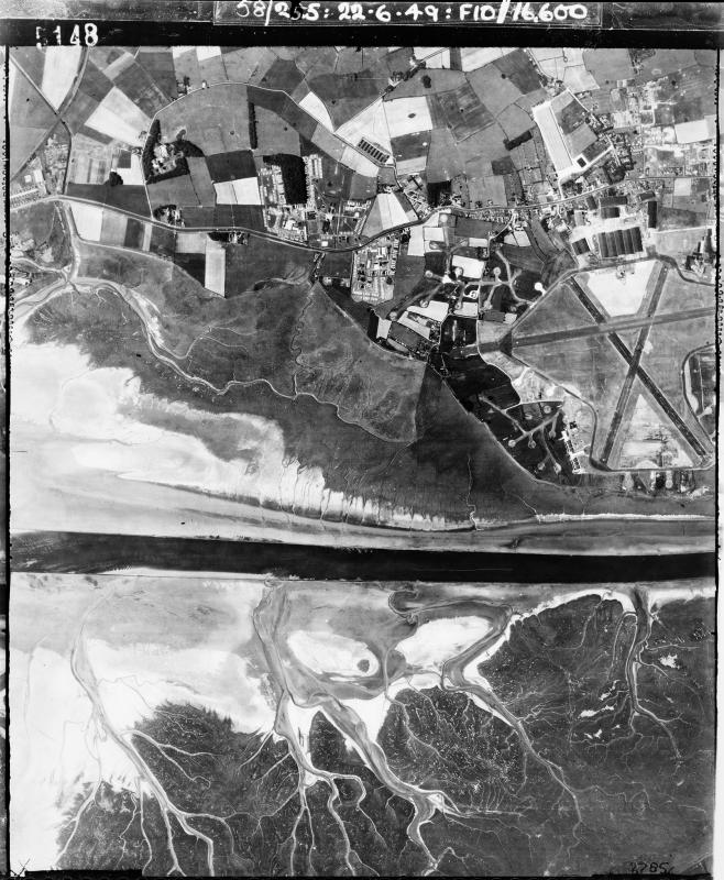 Aerial photograph of Warton airfield looking north, the Ribble Estuary is on the left, 22 June 1949. Photograph taken by No. 58 Squadron, sortie number RAF/58/255. English Heritage (RAF Photography).