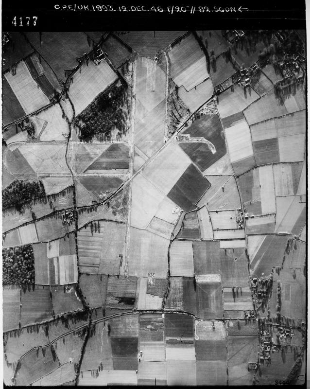 Aerial photograph of Winkton airfield looking south, the main runway runs vertically, 12 December 1946. Photograph taken by No. 82 Squadron, sortie number RAF/CPE/UK/1893. English Heritage (RAF Photography).