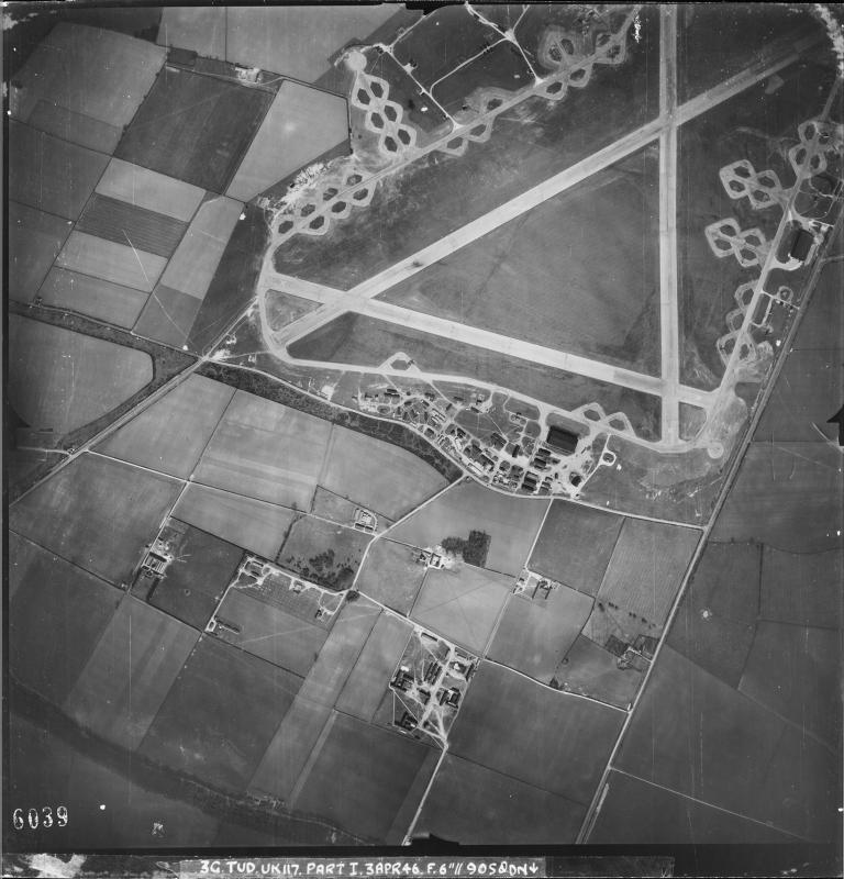 Aerial photograph of Barkston Heath airfield looking north, the control tower and technical site are above the barrack sites at the bottom, 3 April 1946. Photograph taken by No. 90 Squadron, sortie number RAF/3G/TUD/UK/117. English Heritage (RAF Photography).