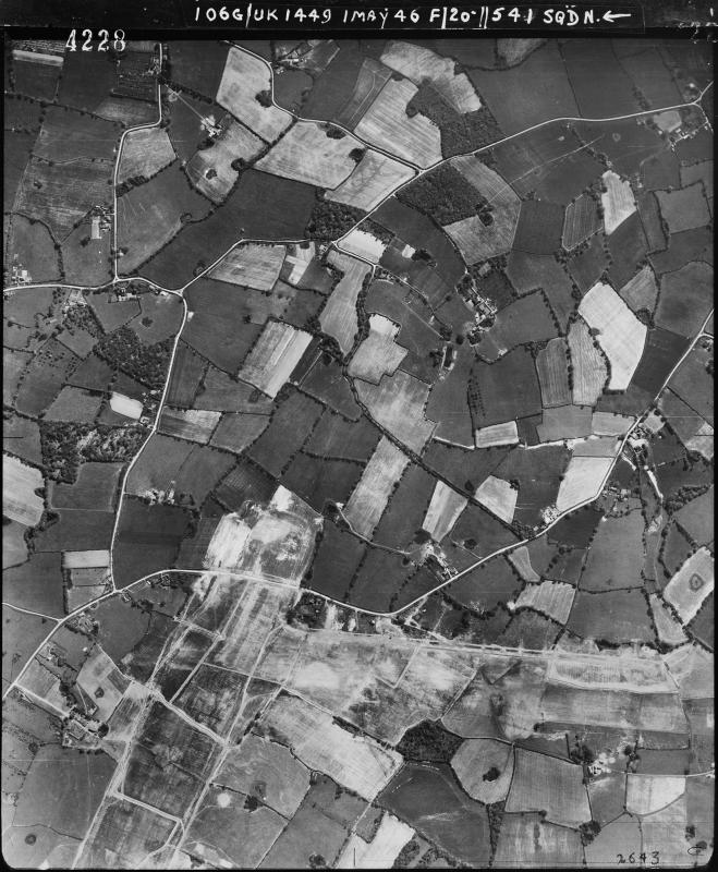 Aerial photograph of High Halden airfield looking south, there are operational buildings on the left, 1 May 1946. Photograph taken by No. 541 Squadron, sortie number RAF/106G/UK/1449. English Heritage (RAF Photography).