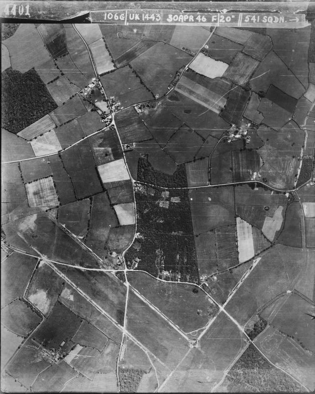 Aerial photograph of Kingsnorth airfield looking south, there are blister hangars in the woods, and above the runway intersection, 30 April 1946. Photograph taken by No. 541 Squadron, sortie number RAF/106G/UK/1443. English Heritage (RAF Photography).