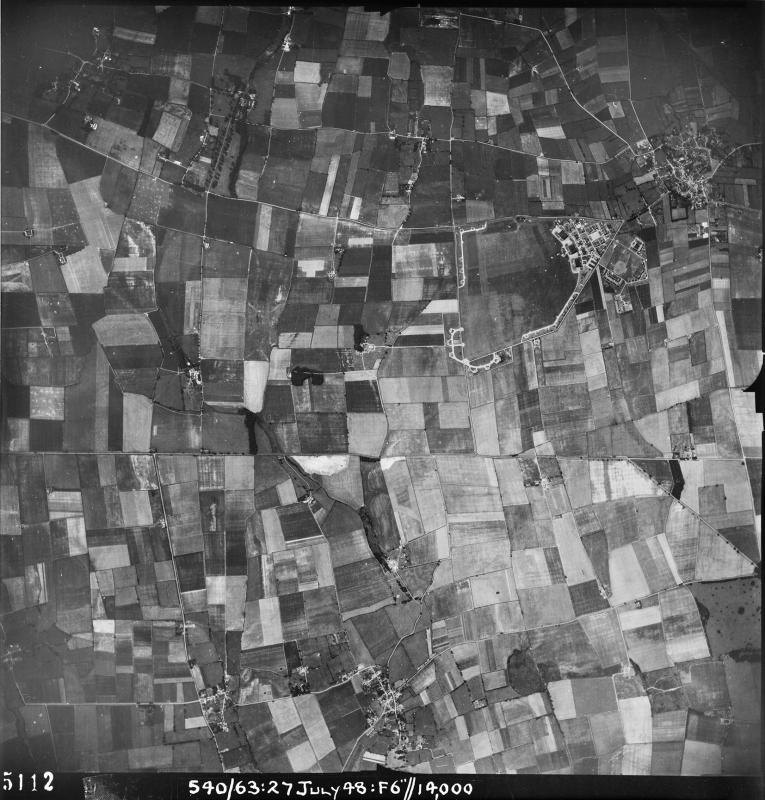 Aerial photograph of Kirton in Lindsey airfield looking west, the technical site with three C-Type hangars is on the right, 27 July 1948. Photograph taken by No. 540 Squadron, sortie number RAF/540/63. English Heritage (RAF Photography).