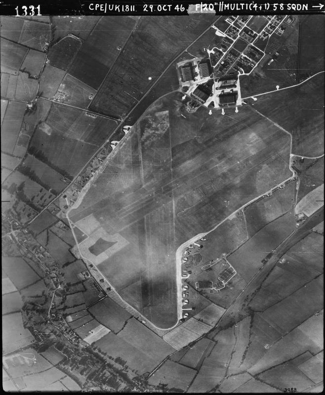 Aerial photograph of Middle Wallop airfield looking north, the control tower is in front of the technical site with five C-Type hangars upper right, 29 October 1946. Photograph taken by No. 58 Squadron, sortie number RAF/CPE/UK/1811. English Heritage (RAF Photography).