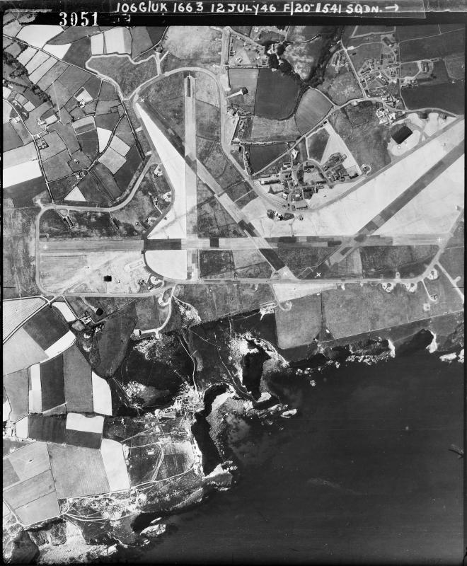 Aerial photograph of Portreath airfield looking south, the main runway runs horizontally, 12 July 1946. Photograph taken by No. 541 Squadron, sortie number RAF/106G/UK/1663. English Heritage (RAF Photography).