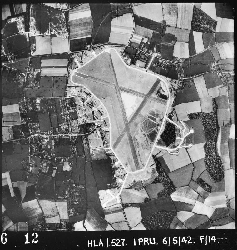 Aerial photograph of Bovingdon airfield looking south, the technical site with four T2 hangars is on the left,30 April 1942. Photograph taken by No. 1 Photographic Reconnaissance Unit, sortie number RAF/HLA/510. English Heritage (RAF Photography).
