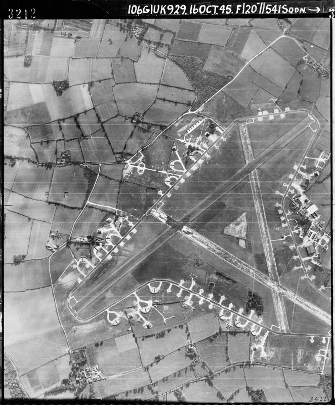 Aerial photograph of Leiston airfield looking south, the control tower and technical site are to the right, 16 October 1945. Photograph taken by No. 541 Squadron, sortie number RAF/106G/UK/929. English Heritage (RAF Photography).