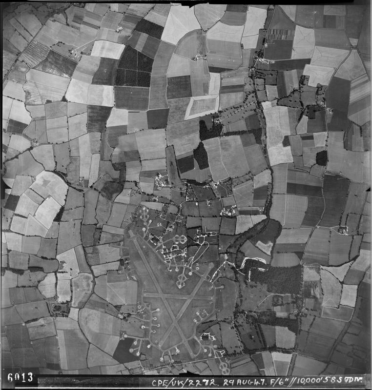 Aerial photograph of Little Staughton airfield looking east, the technical site and operational buildings are at the top, 29 August 1947. Photograph taken by No. 58 Squadron, sortie number RAF/CPE/UK/2272. English Heritage (RAF Photography).