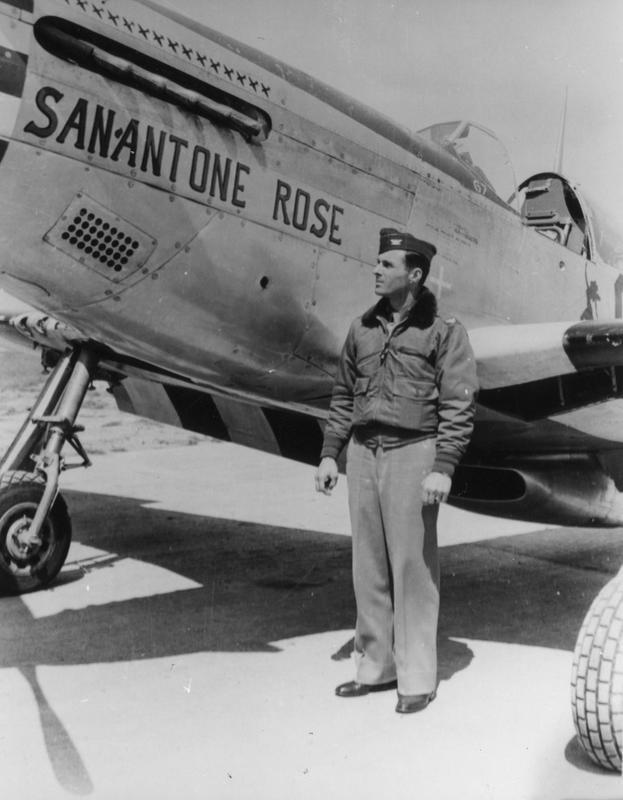Colonel John B. Henry, of the 339th Fighter Group, stands beside P-51 Mustang (6N-A, serial number 42-106676), known as