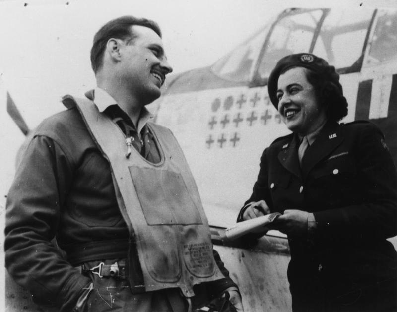 Virginia Irwin (1908–1980), features writer from the St. Louis Post-Dispatch, interviews Lieutenant Glennon T 'Bubbles' Moran of the 352nd Fighter Group.  The article she produced as a result of this interview can be read here: http://acepilots.com/eto/moran.html