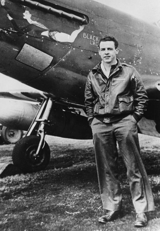 Lieutenant Charles H. Shilke of the 336th Fighter Squadron, of the 4th Fighter Group, beside a P-51 Mustang named