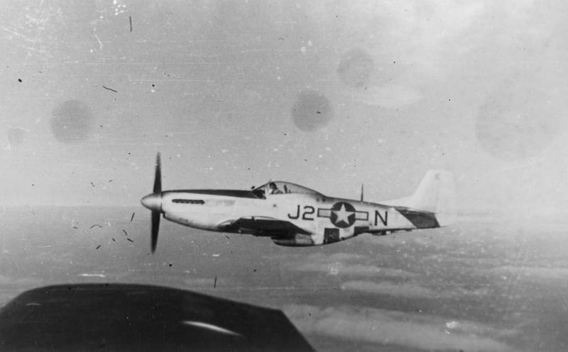 A P-51 Mustang (J2-N) of the 435th Fighter Squadron, 479th Fighter Group. Handwritten caption on reverse: '435th F.S, 479th F.G. Probs: Verne E. Hooker.'