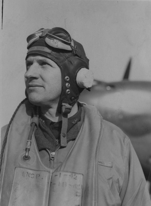 Lieutenant-Colonel Frank B. James, a pilot with the 55th Fighter Group, at Nuthampstead air base. Passed for publication 12 November 1943. Printed caption attached to print: 'Lt. Col. Frank B. James, a Lightning P-38 Group Commander, of Huntington Park, Calif., about to set out on an operational flight.'