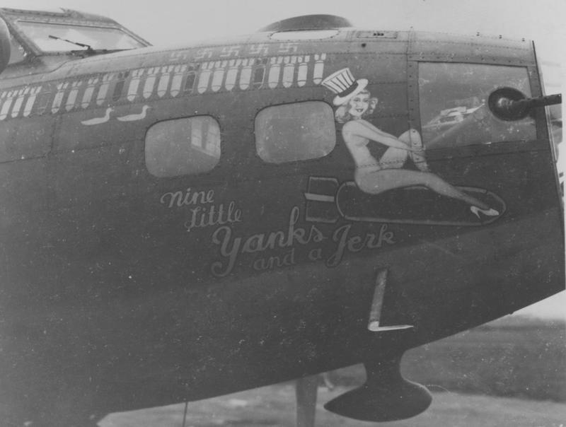 The nose art of a B-17 Flying Fortress (serial number 42-3271 EP-L) nicknamed