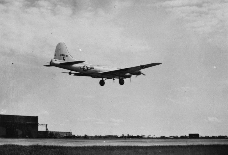 A B-17 Flying Fortress (serial number 43-38536) of the 652nd Bomb Squadron, 25th Bomb Group lands at Watton. Handwritten caption on reverse: '652 BS 25 BG Watton.'