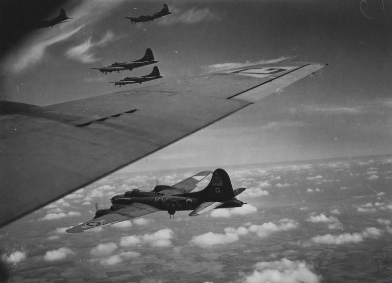 B-17 Flying Fortresses of the 305th Bomb Group fly in formation during a mission. B-17F (KY-G, serial number 41-24592) nicknamed