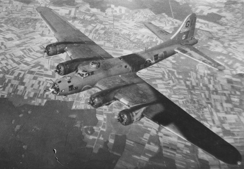 """A B-17 Flying Fortress (serial number 42-29803) nicknamed """"Flat Foot Floogie"""" of the 305th Bomb Group."""