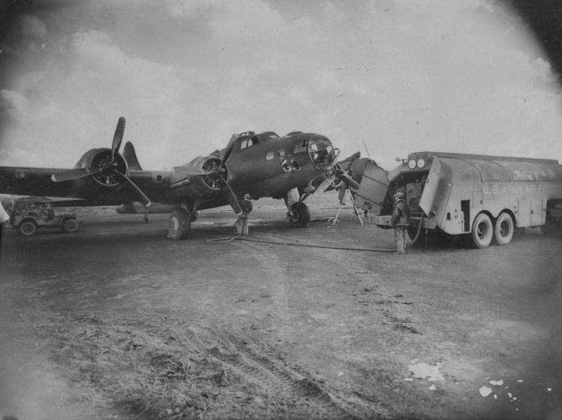 Ground crew of the 91st Bomb Group refuel a B-17 Flying Fortress (DF-G, serial number 42-5069) nicknamed
