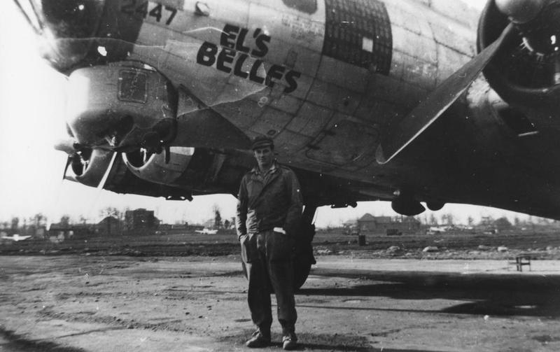 An airman of the 95th Bomb Group with a B-17 Flying Fortress (serial number 42-102447) nicknamed