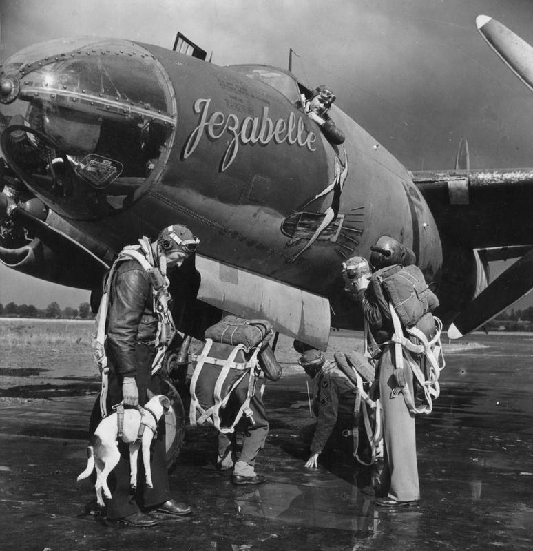 A bomber crew and their dog mascot