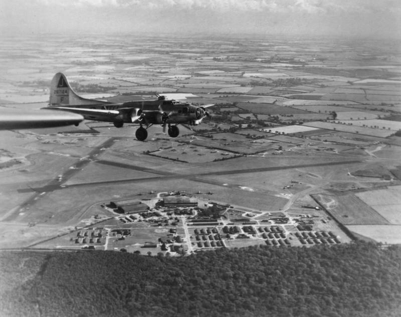 A B-17 Flying Fortress (serial number 42-107124) of the 351st Bomb Group flies over Polebrook.
