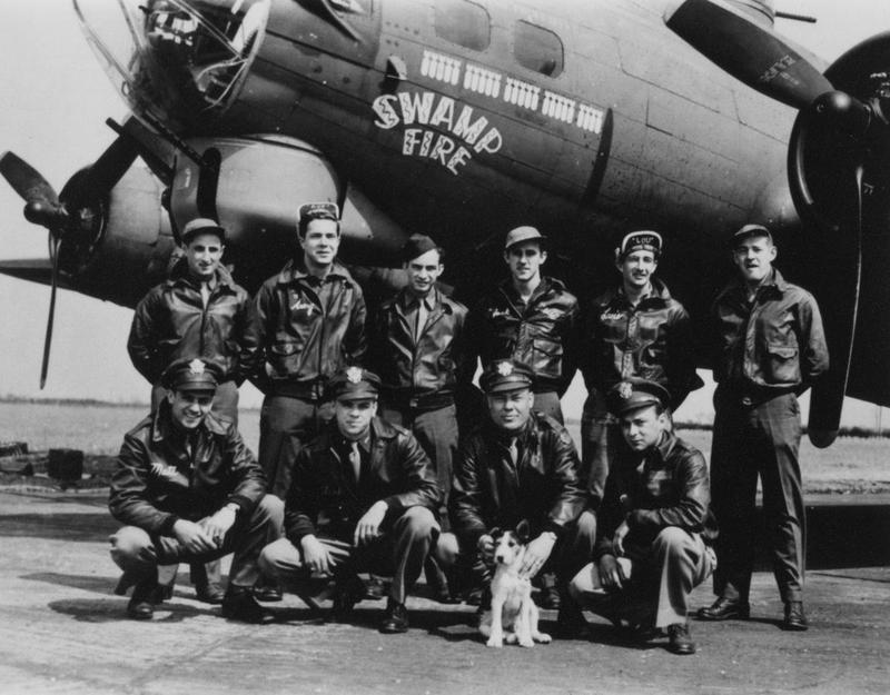 A bomber crew of the 379th Bomb Group, and their mascot