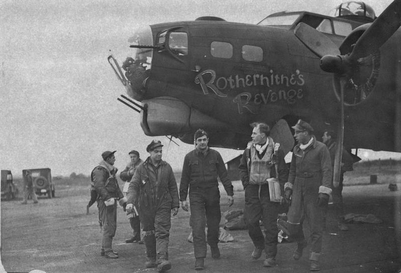 A bomber crew of the 381st Bomb Group return to base after a mission in their B-17 Flying Fortress (serial number 42-31761) nicknamed