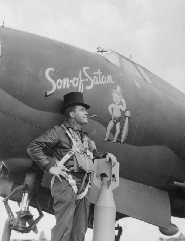 Major Sherman R. Beaty, a pilot of the 386th Bomb Group with his B-26 Marauder (serial number 41-31613) nicknamed