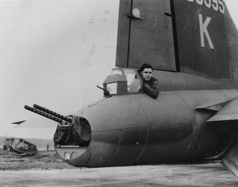 Jim Jones, a tail gunner of the 388th Bomb Group in position inside his B-17 Flying Fortress (serial number 42-30595, nicknamed