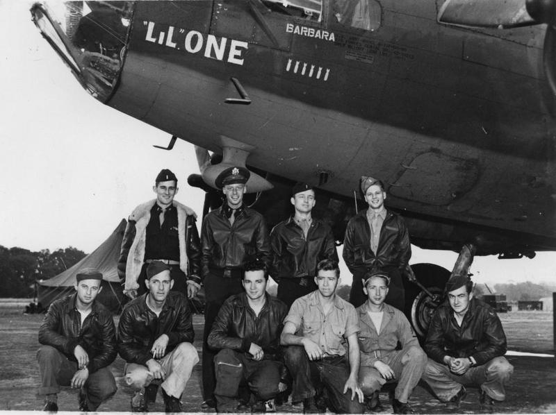 Bob Pfieffer and his crew of the 562nd Bomb Squadron, 388th Bomb Group with their B-17 Flying Fortress (serial number 42-30213) nicknamed